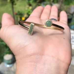 Michael Kors Open Cuff Gold Tone Green Jade
